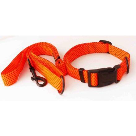 Póráz-nyakörv szett kutyának, narancsszínű szövött anyagból