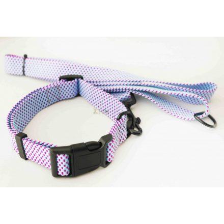 Póráz-nyakörv szett kutyának, kék-lila szövött anyagból