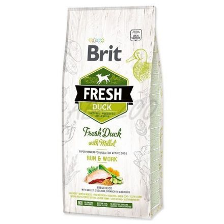 12 kg Brit Fresh Kacsa és Köles Adult Run & Work